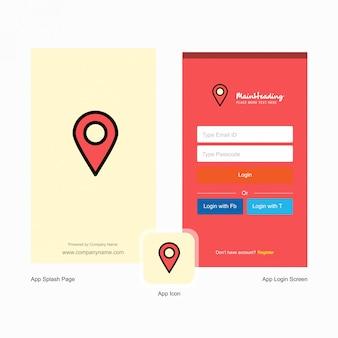 Ponteiro do mapa da empresa tela inicial e página de login