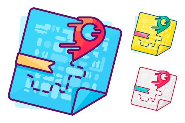 Ponteiro vermelho líquido no mapa. entrega rápida ou o menor símbolo de rota. navegação e busca de desenho de lugar.