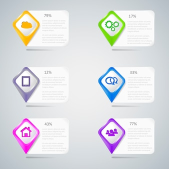 Ponteiros coloridos com elementos de infográfico