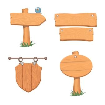 Ponteiros de madeira e sinais.