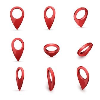 Ponteiros de mapa moderno realista vermelho brilhante definidos em vários ângulos