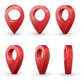 Ponteiros de mapa realista vermelho