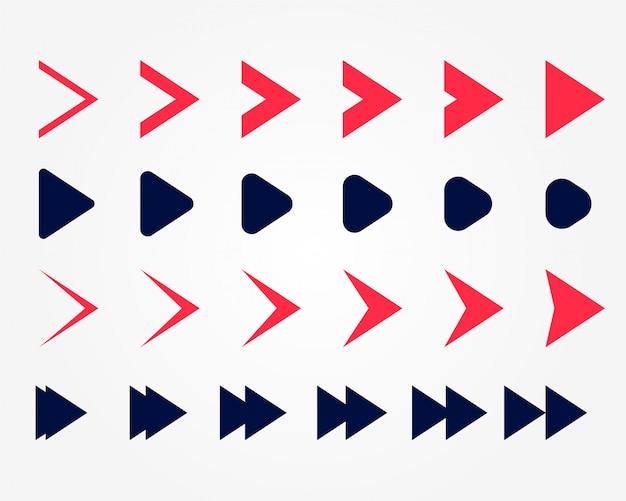 Ponteiros de setas direcionais definidos em duas cores