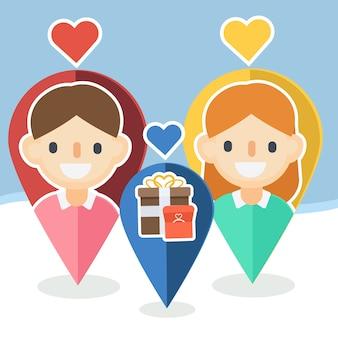 Ponteiros do dia dos namorados com ícones