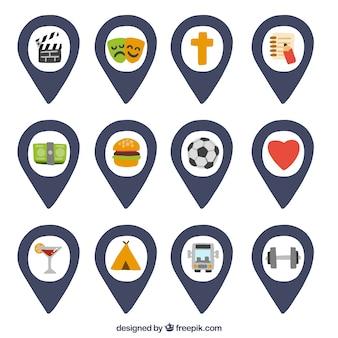 Ponteiros do mapa com uma variedade de ícones