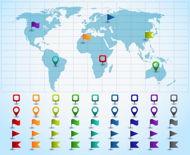 Ponteiros no mapa do mundo