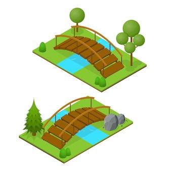 Pontes de rio em vista isométrica