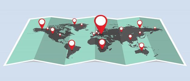 Pontilha o mapa do mundo com ilustração de pinos. pontos que indicam a localização no mapa