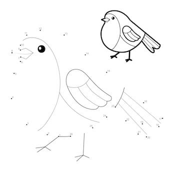 Ponto a ponto quebra-cabeça de natal para crianças. conecte o jogo dos pontos. ilustração de pássaro