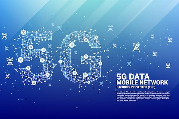 Ponto conectar linha em forma de rede móvel 5g com torre de antena