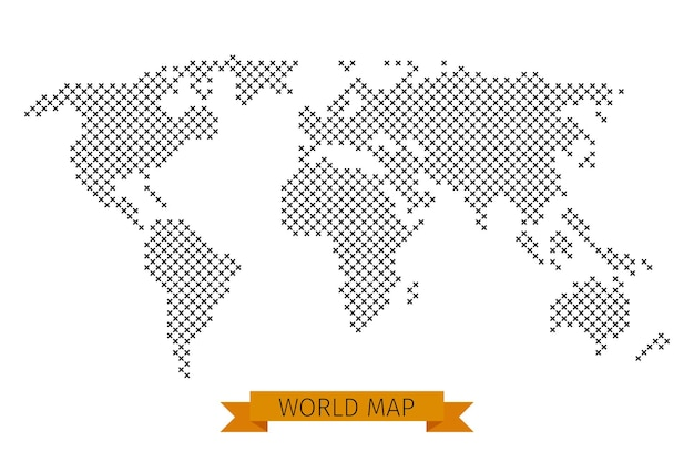 Ponto cruz do mapa do mundo. mapa global para cartografia, modelo de mapa com ilustração da cruz preta