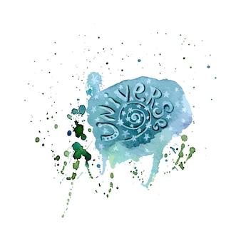 Ponto de aquarela. salpica com universo de letras. arte -final aquarela de vetor. design de aquarela de vetor espacial para impressão, cartão postal.