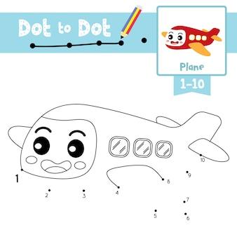 Ponto de avião para pontilhar jogo e livro para colorir