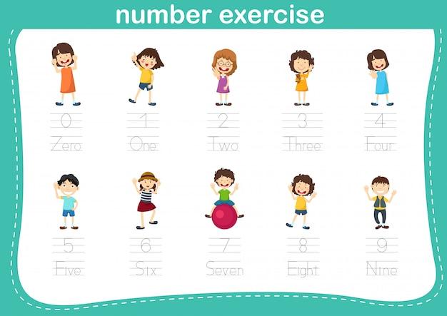 Ponto de conexão e números imprimíveis exercitam para ilustração de crianças prées-escolar e jardim de infância