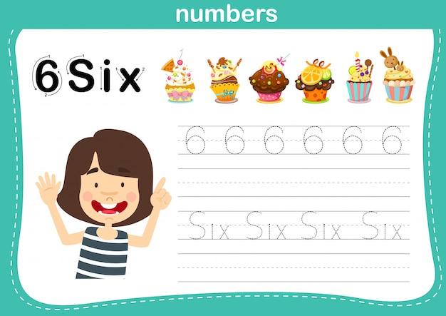 Ponto de conexão e números imprimíveis exercitam-se para ilustração de crianças prées-escolar e jardim de infância,