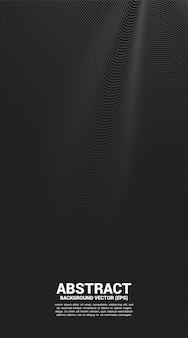 Ponto de curva de contorno digital e ondulação de linha e onda com wireframe