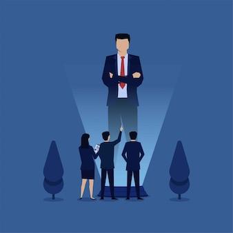 Ponto de homem na metáfora de holograma de empresário de reunião on-line. ilustração de conceito plana de negócios.