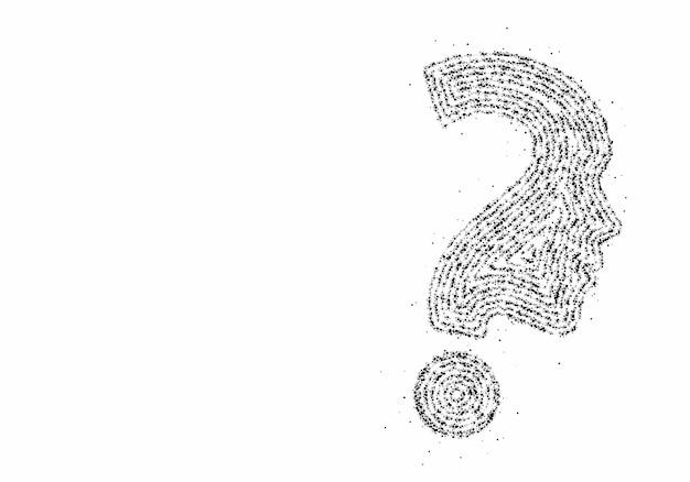 Ponto de interrogação da partícula com elemento de desenho de vetor de ícone de rosto humano. Vetor Premium