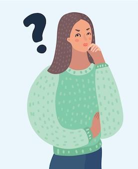 Ponto de interrogação pensando mulher pop art ilustração retrô