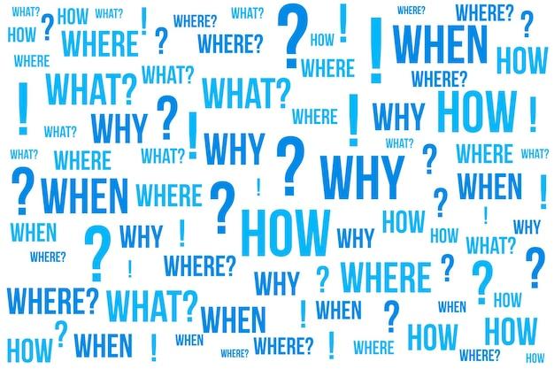 Ponto de interrogação - perguntas cujas respostas são consideradas básicas na coleta de informações ou solução de problemas, segundo plano da nuvem de palavras.