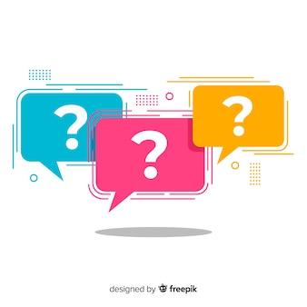 Ponto de interrogação plano no conjunto de bolha do discurso