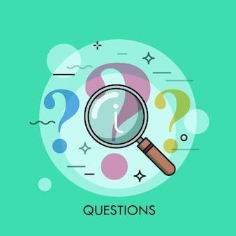 Ponto de interrogação sob revisão com ilustração de linha fina de lupa