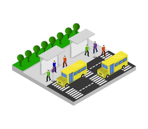 Ponto de ônibus escolar isométrico