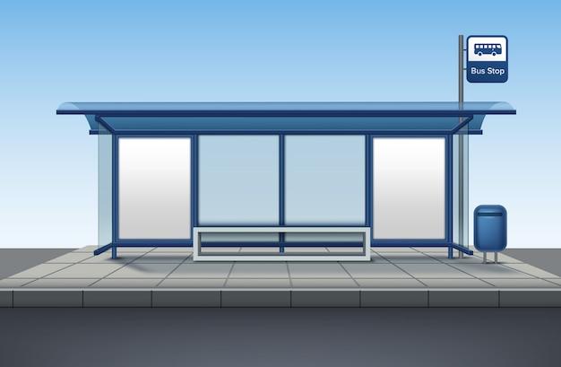 Ponto de ônibus feito de vidro e metal com um banco para sentar com uma faixa em branco isolada vista frontal