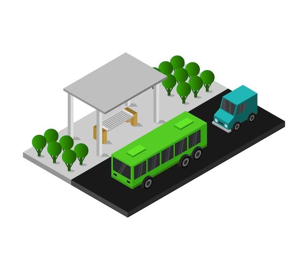 Ponto de ônibus isométrico