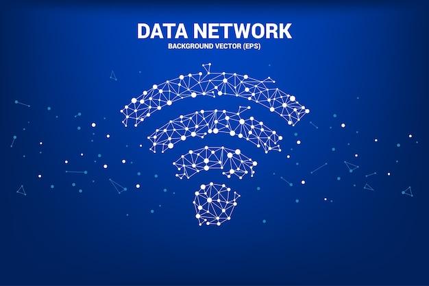Ponto de polígono de vetor conectar sinalização de ícone de dados móveis