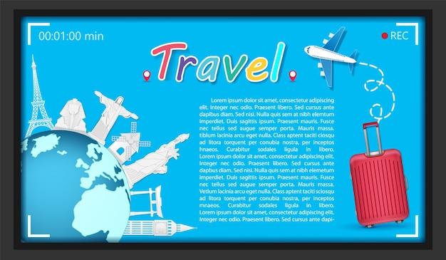 Ponto de referência de bagagem mundialmente famoso para a arte de papel de viagens