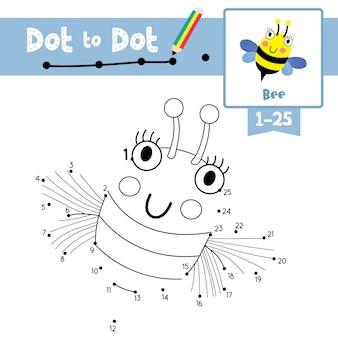 Ponto de voar de abelha para ponto de jogo e livro para colorir