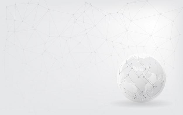 Ponto do mapa do mundo e conceito da composição da linha do negócio global. conexão de rede global.