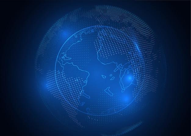 Ponto do mapa do mundo e conceito da composição da linha do negócio global.