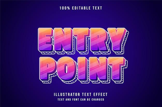 Ponto entri, estilo de efeito de texto editável 3d gradação amarela rosa bonito