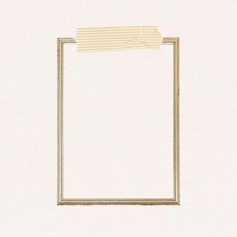 Ponto retângulo na moldura dourada com um vetor de fita washi com listras amarelas