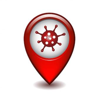 Ponto vermelho do mapa com coronavírus.