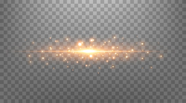 Pontos brilhantes dourados, brilhos, partículas e estrelas em um fundo preto. efeito de luz abstrato. pontos luminosos de ouro. ilustração vetorial.