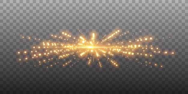 Pontos brilhantes dourados, brilhos, partículas e estrelas em um fundo preto.
