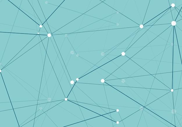Pontos conectados futuristas e padrão molecular de linhas