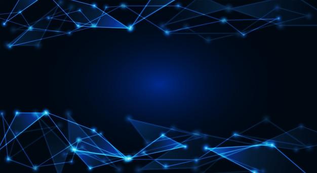 Pontos conectados no fundo azul brilhante