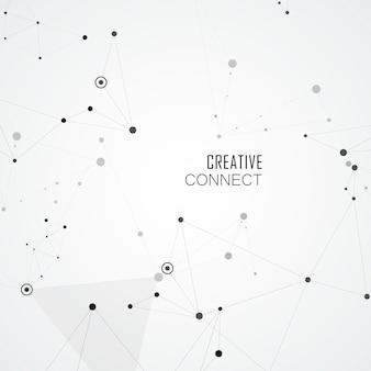 Pontos conectados por linhas retas em formas criativas simples