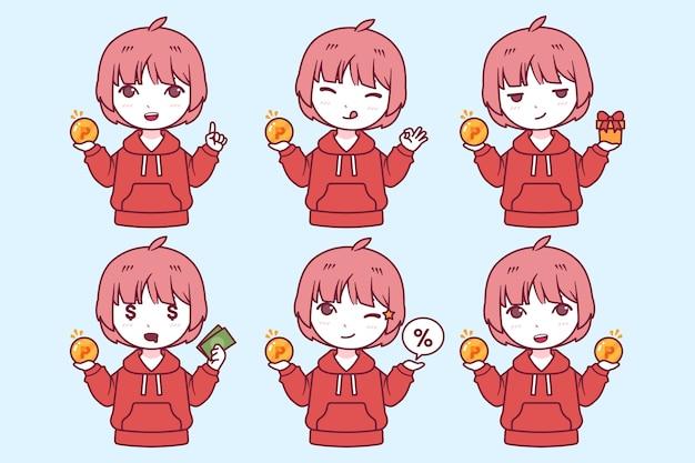 Pontos de coleta de personagem vermelho japonês desenhado à mão
