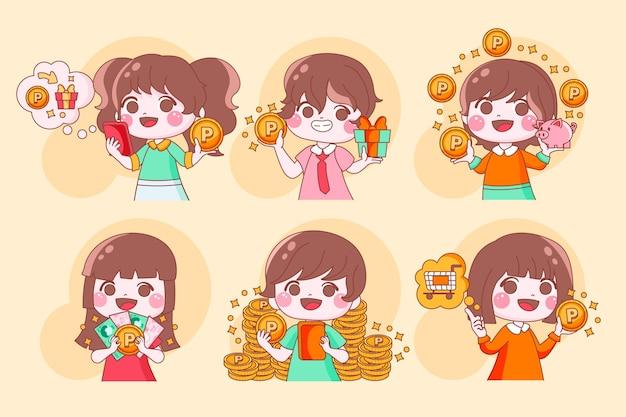 Pontos de coleta de personagens japoneses desenhados à mão