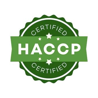 Pontos de controle críticos de análise de risco haccp certificado cor do emblema estilo plano isolado no branco