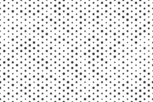 Pontos de fundo preto branco sem costura padrão