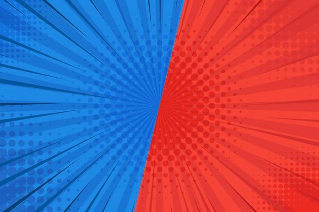 Pontos de meio-tom do pop art fundo cômico explosão de raios. ilustração dos desenhos animados em vermelho e azul.