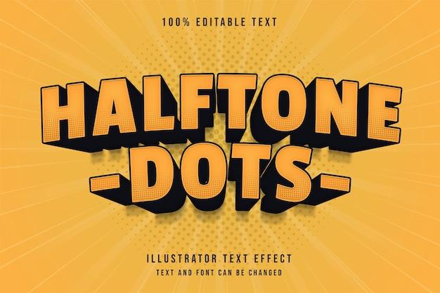 Pontos de meio-tom, efeito de texto editável em 3d gradação amarela estilo de texto em quadrinhos preto