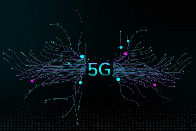 Pontos de partícula de tecnologia vetoriais fundo corporativo digital 5g