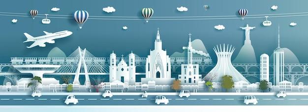 Pontos de referência da viagem arquitetura do brasil moderna e antiga na américa do sul, ponto turístico do brasil na cidade do rio de janeiro com teleférico e trem no panorama da cidade capital popular, estilo de corte de papel.
